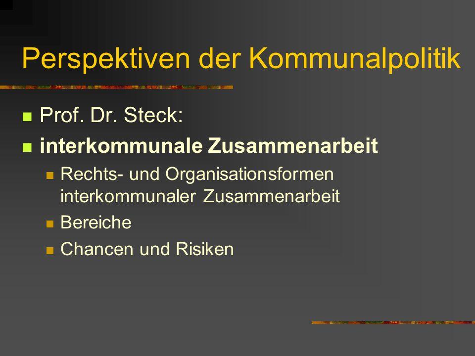 Perspektiven der Kommunalpolitik Prof. Dr.