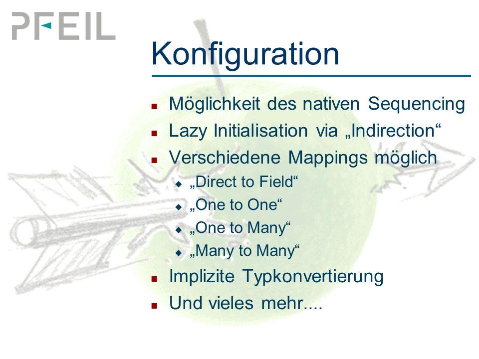 "Konfiguration Möglichkeit des nativen Sequencing Lazy Initialisation via ""Indirection Verschiedene Mappings möglich  ""Direct to Field  ""One to One  ""One to Many  ""Many to Many Implizite Typkonvertierung Und vieles mehr...."
