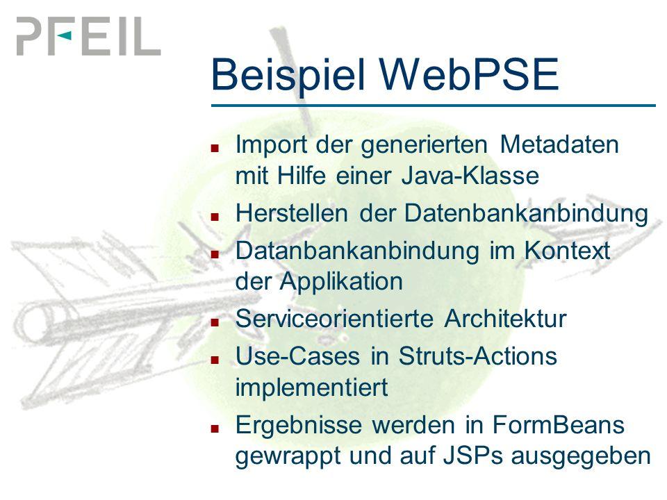 Beispiel WebPSE Import der generierten Metadaten mit Hilfe einer Java-Klasse Herstellen der Datenbankanbindung Datanbankanbindung im Kontext der Applikation Serviceorientierte Architektur Use-Cases in Struts-Actions implementiert Ergebnisse werden in FormBeans gewrappt und auf JSPs ausgegeben