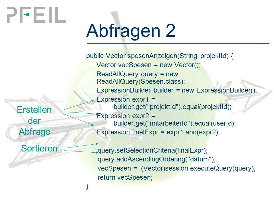 Abfragen 2 public Vector spesenAnzeigen(String projektId) { Vector vecSpesen = new Vector(); ReadAllQuery query = new ReadAllQuery(Spesen.class); ExpressionBuilder builder = new ExpressionBuilder(); Expression expr1 = builder.get( projektId ).equal(projektId); Expression expr2 = builder.get( mitarbeiterId ).equal(userId); Expression finalExpr = expr1.and(expr2); query.setSelectionCriteria(finalExpr); query.addAscendingOrdering( datum ); vecSpesen =(Vector)session.executeQuery(query); return vecSpesen; } Erstellen der Abfrage Sortieren