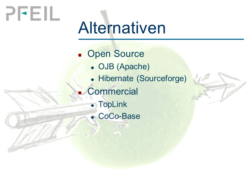 Alternativen Open Source  OJB (Apache)  Hibernate (Sourceforge) Commercial  TopLink  CoCo-Base