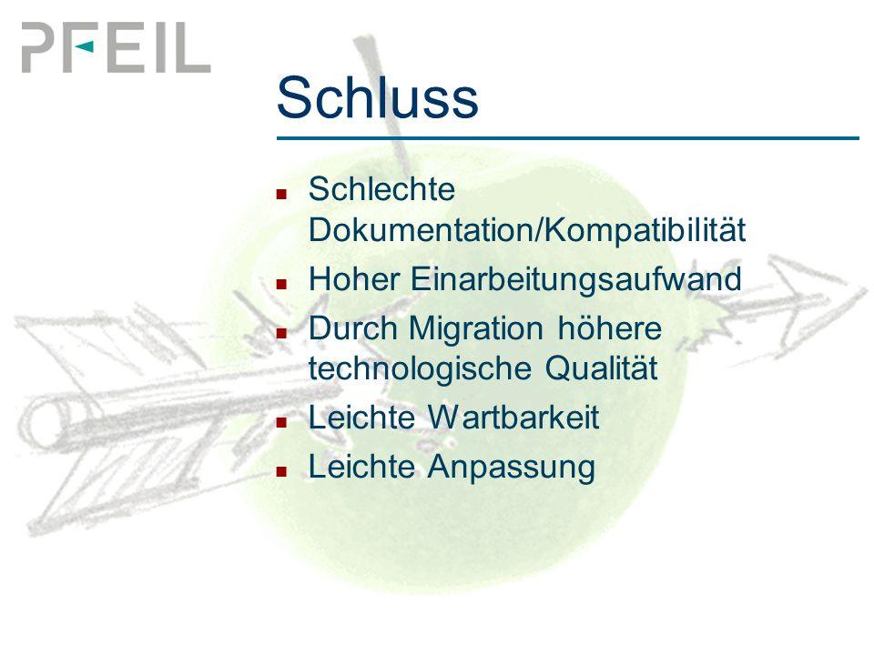Schluss Schlechte Dokumentation/Kompatibilität Hoher Einarbeitungsaufwand Durch Migration höhere technologische Qualität Leichte Wartbarkeit Leichte Anpassung