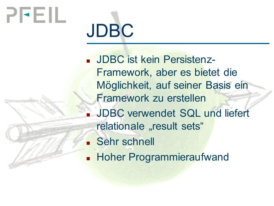 """JDBC JDBC ist kein Persistenz- Framework, aber es bietet die Möglichkeit, auf seiner Basis ein Framework zu erstellen JDBC verwendet SQL und liefert relationale """"result sets Sehr schnell Hoher Programmieraufwand"""