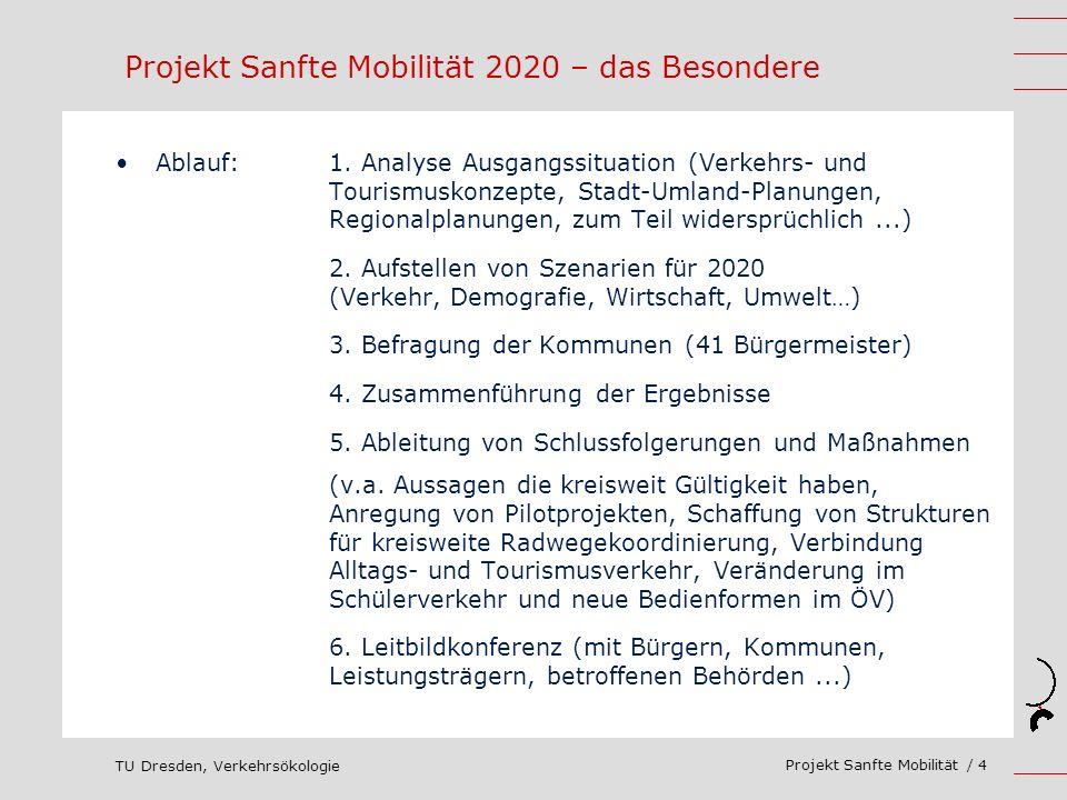 TU Dresden, Verkehrsökologie Projekt Sanfte Mobilität / 4 Ablauf: 1. Analyse Ausgangssituation (Verkehrs- und Tourismuskonzepte, Stadt-Umland-Planunge