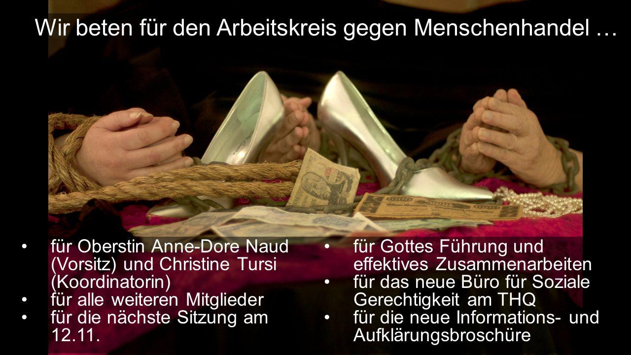 für Oberstin Anne-Dore Naud (Vorsitz) und Christine Tursi (Koordinatorin) für alle weiteren Mitglieder für die nächste Sitzung am 12.11.