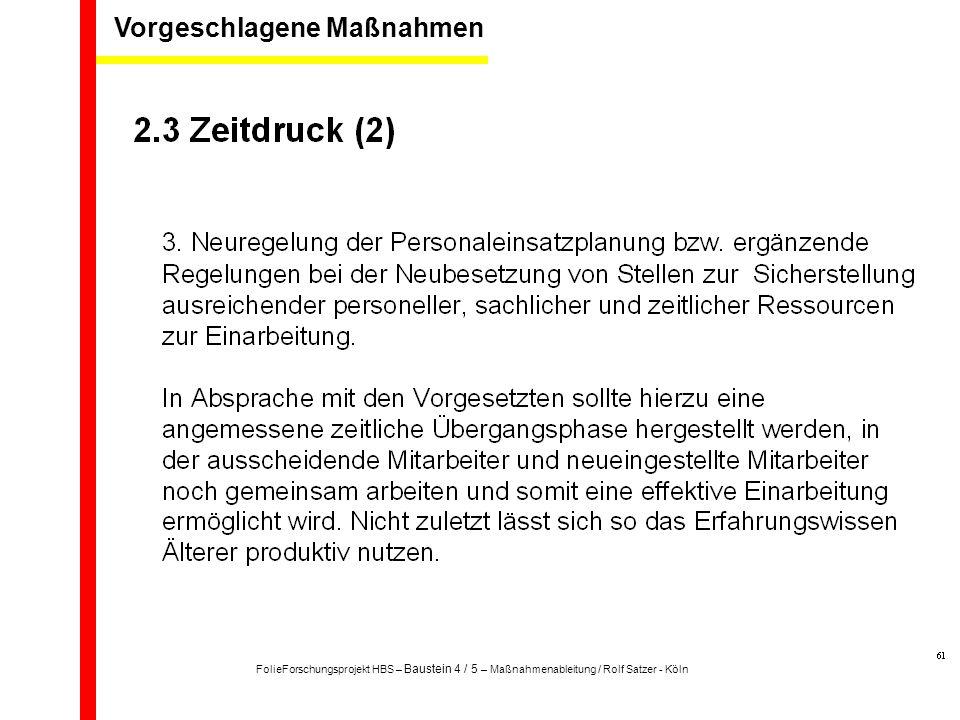 Quelle Rolf Satzer: Stress - Psyche – Gesundheit / Das START-Verfahren zur Gefährdungsbeurteilung von Arbeitsbelastungen, Frankfurt 200517 Vorgeschlagene Maßnahmen FolieForschungsprojekt HBS – Baustein 4 / 5 – Maßnahmenableitung / Rolf Satzer - Köln