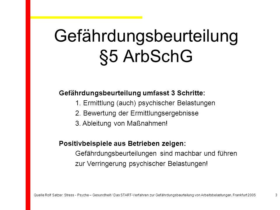 Quelle Rolf Satzer: Stress - Psyche – Gesundheit / Das START-Verfahren zur Gefährdungsbeurteilung von Arbeitsbelastungen, Frankfurt 20053 Gefährdungsbeurteilung §5 ArbSchG Gefährdungsbeurteilung umfasst 3 Schritte: 1.