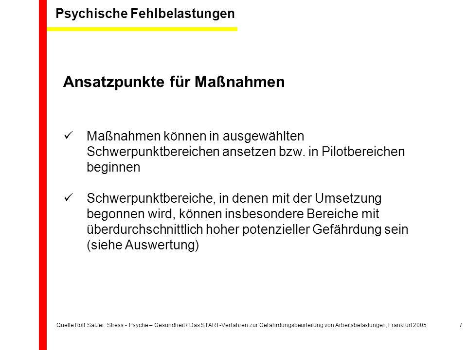 Quelle Rolf Satzer: Stress - Psyche – Gesundheit / Das START-Verfahren zur Gefährdungsbeurteilung von Arbeitsbelastungen, Frankfurt 20057 Ansatzpunkte für Maßnahmen Maßnahmen können in ausgewählten Schwerpunktbereichen ansetzen bzw.