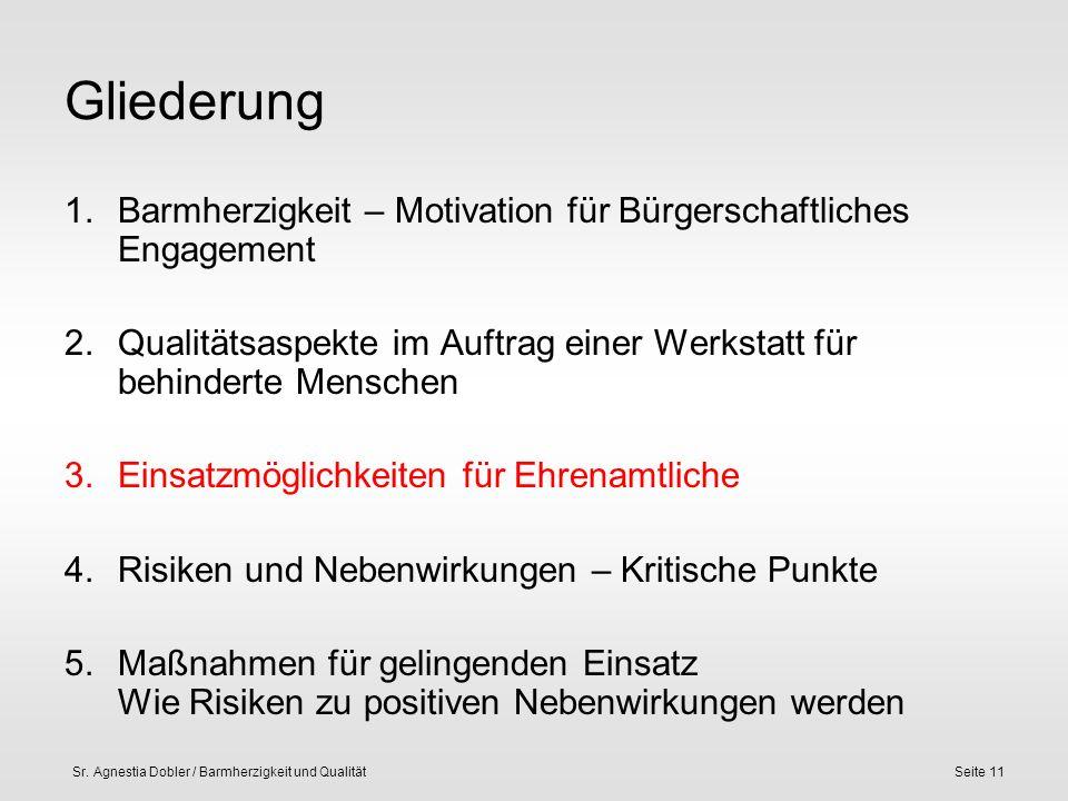 Sr. Agnestia Dobler / Barmherzigkeit und QualitätSeite 11 Gliederung 1.Barmherzigkeit – Motivation für Bürgerschaftliches Engagement 2.Qualitätsaspekt