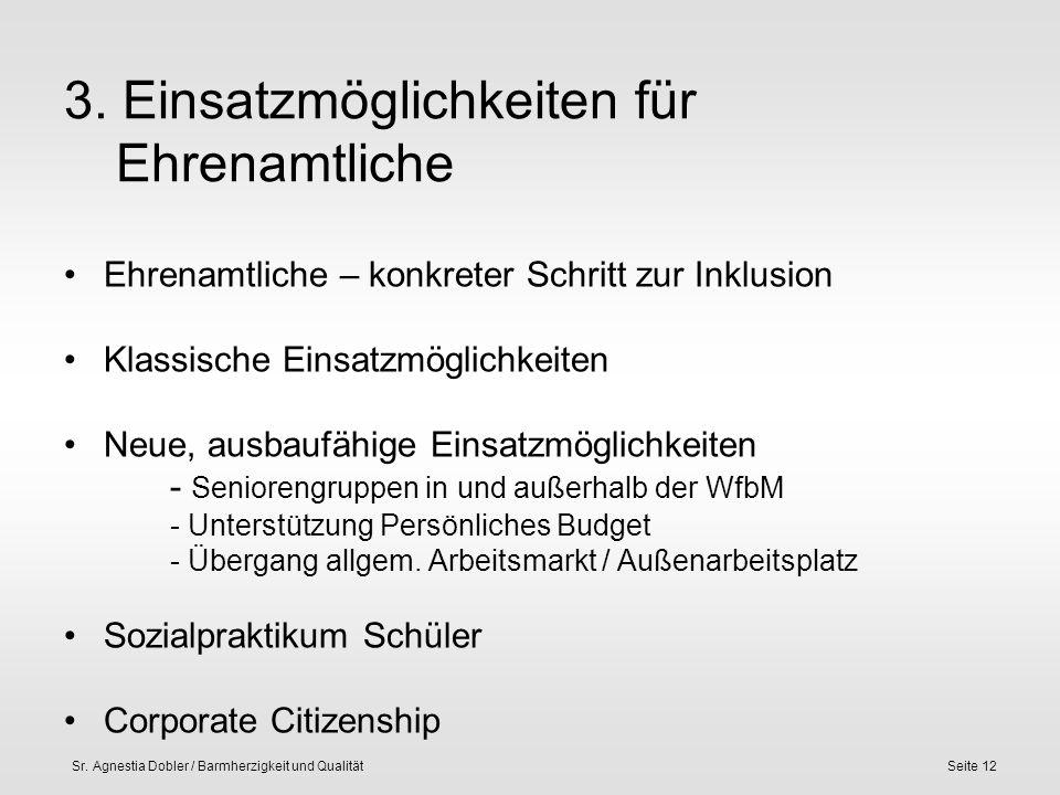 Sr. Agnestia Dobler / Barmherzigkeit und QualitätSeite 12 3. Einsatzmöglichkeiten für Ehrenamtliche Ehrenamtliche – konkreter Schritt zur Inklusion Kl