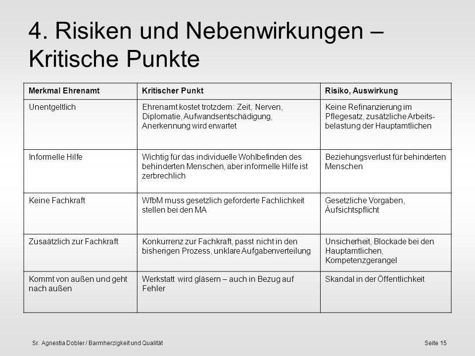 Sr. Agnestia Dobler / Barmherzigkeit und QualitätSeite 15 4. Risiken und Nebenwirkungen – Kritische Punkte Merkmal EhrenamtKritischer PunktRisiko, Aus