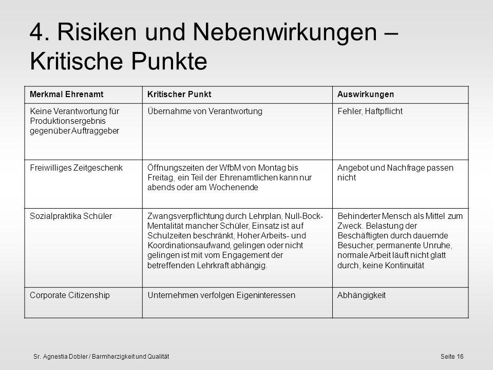 Sr. Agnestia Dobler / Barmherzigkeit und QualitätSeite 16 4. Risiken und Nebenwirkungen – Kritische Punkte Merkmal EhrenamtKritischer PunktAuswirkunge