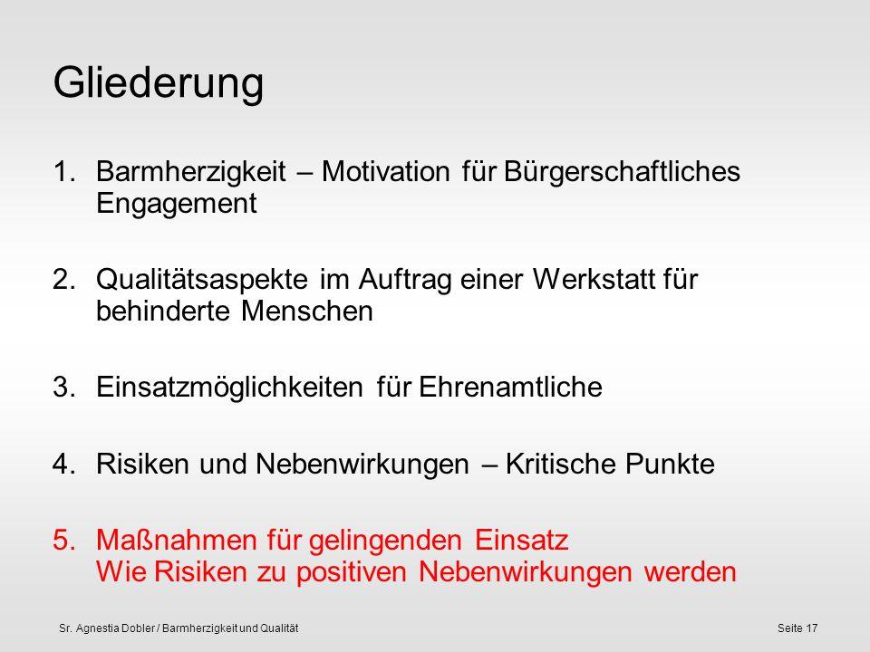 Sr. Agnestia Dobler / Barmherzigkeit und QualitätSeite 17 Gliederung 1.Barmherzigkeit – Motivation für Bürgerschaftliches Engagement 2.Qualitätsaspekt