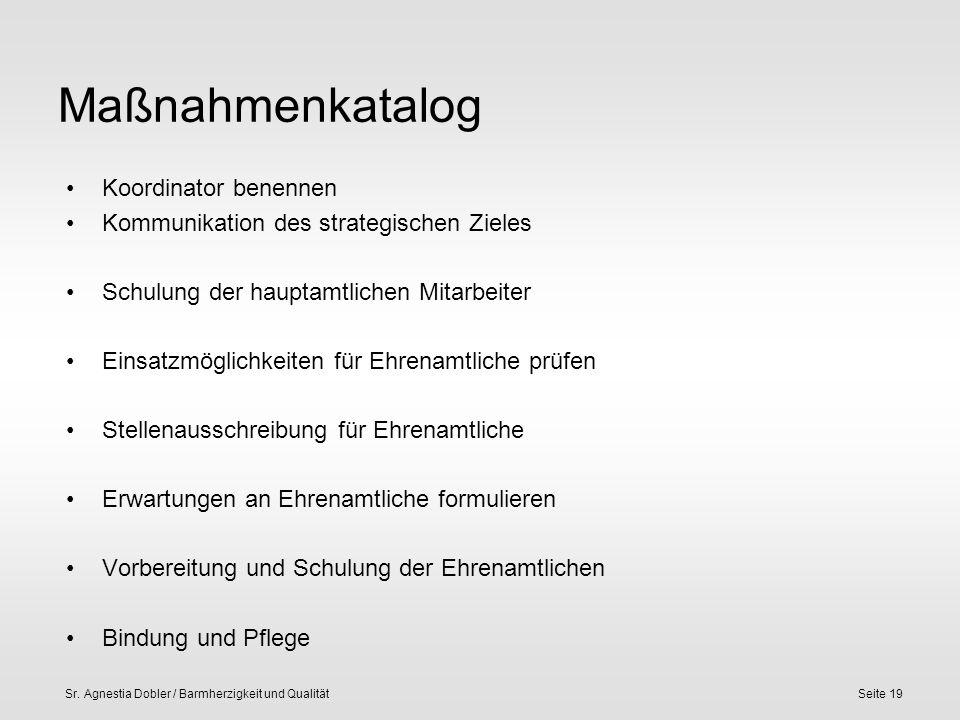 Sr. Agnestia Dobler / Barmherzigkeit und QualitätSeite 19 Maßnahmenkatalog Koordinator benennen Kommunikation des strategischen Zieles Schulung der ha