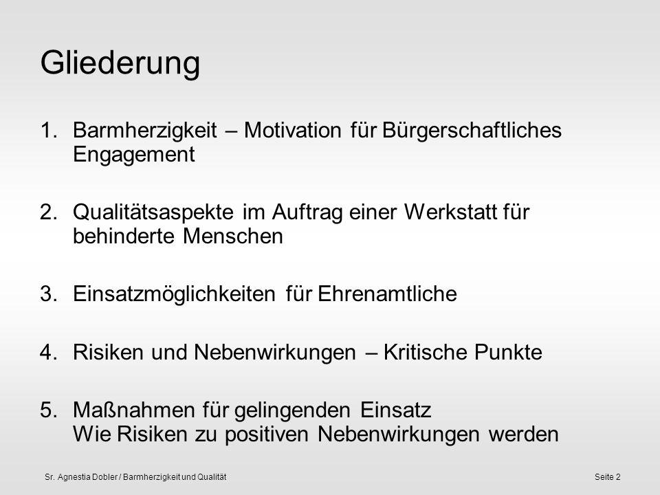 Sr. Agnestia Dobler / Barmherzigkeit und QualitätSeite 2 Gliederung 1.Barmherzigkeit – Motivation für Bürgerschaftliches Engagement 2.Qualitätsaspekte