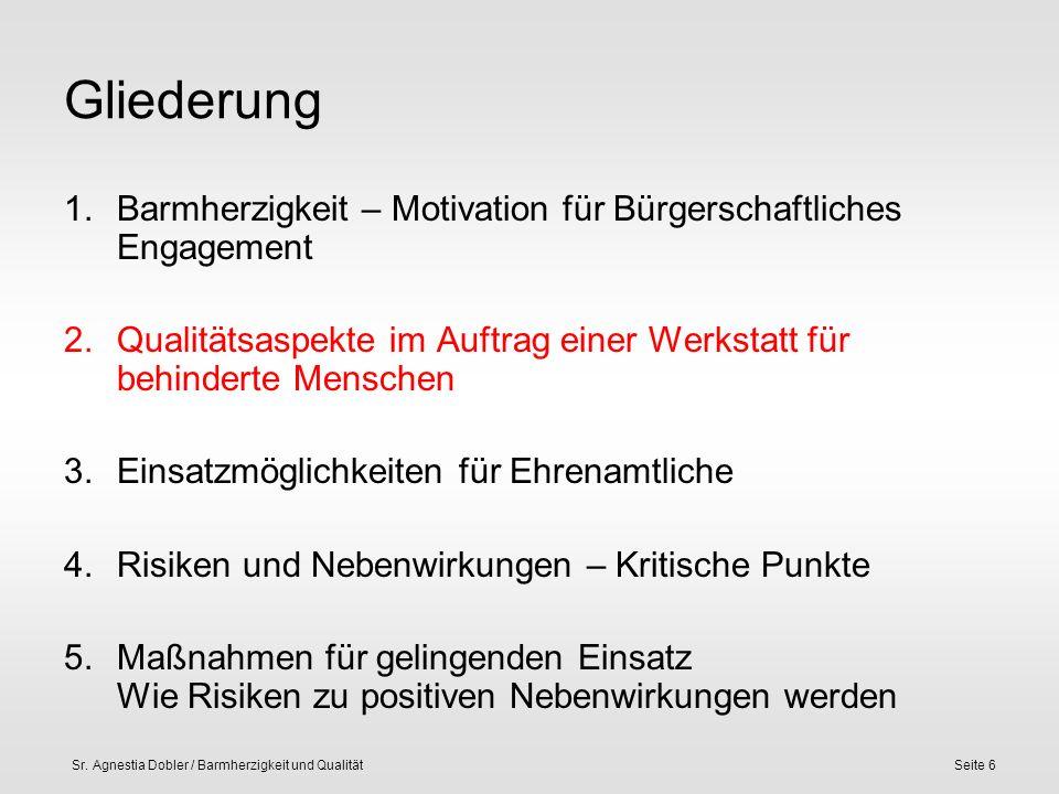Sr. Agnestia Dobler / Barmherzigkeit und QualitätSeite 6 Gliederung 1.Barmherzigkeit – Motivation für Bürgerschaftliches Engagement 2.Qualitätsaspekte