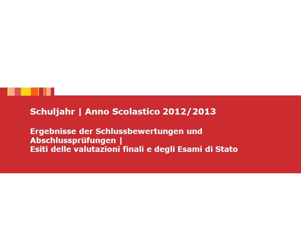 Schuljahr | Anno Scolastico 2012/2013 Ergebnisse der Schlussbewertungen und Abschlussprüfungen | Esiti delle valutazioni finali e degli Esami di Stato