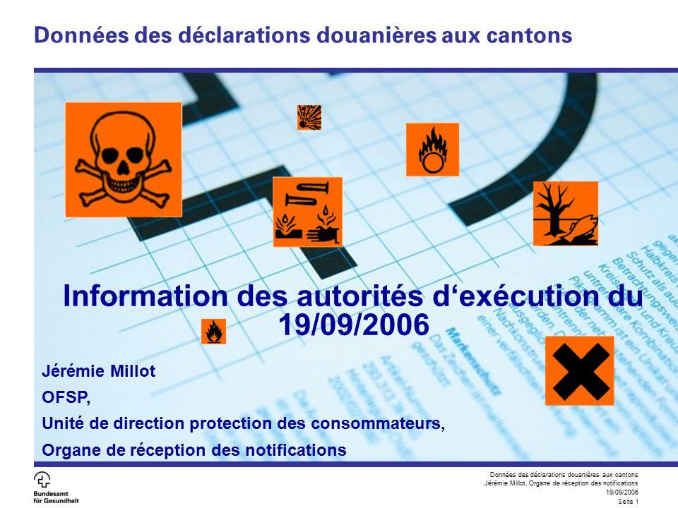 Données des déclarations douanières aux cantons Jérémie Millot, Organe de réception des notifications 19/09/2006 Seite 12 Conclusion Wünsche bitte bis 31.09.2006 an jeremie.millot@bag.admin.chjeremie.millot@bag.admin.ch Souhaits jusqu'au 31/09/2006 à jeremie.millot@bag.admin.chjeremie.millot@bag.admin.ch Des questions.