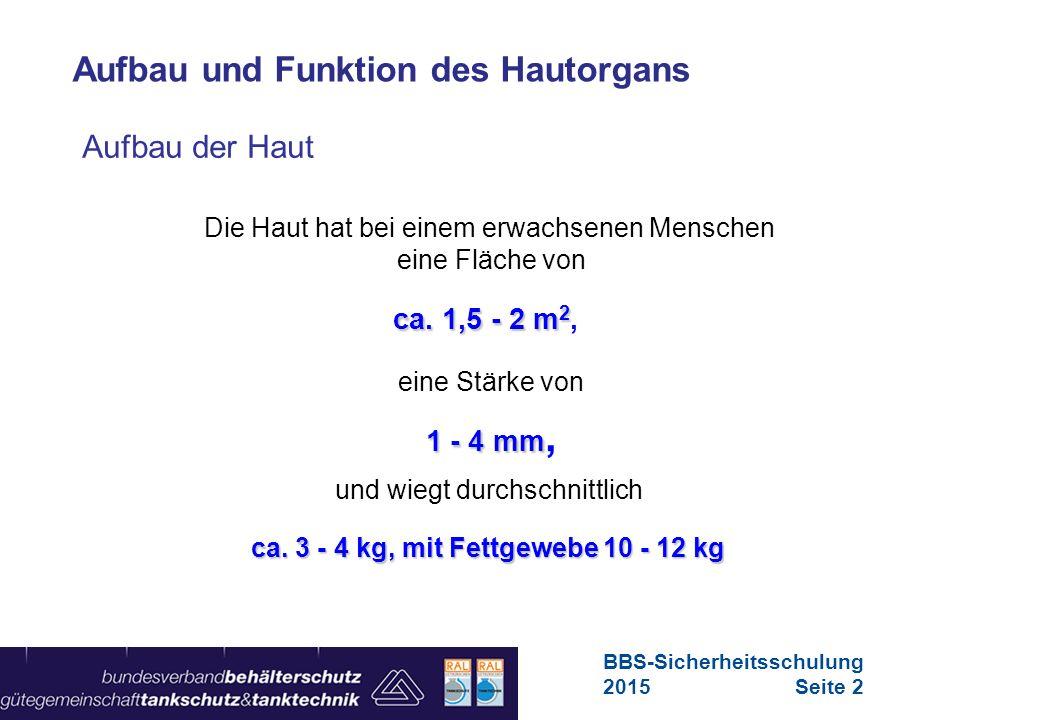 Maschinen in Europa Vorschriften-Übersicht für Maschinen Aufbau der Haut Die Haut hat bei einem erwachsenen Menschen eine Fläche von ca. 1,5 - 2 m 2 c