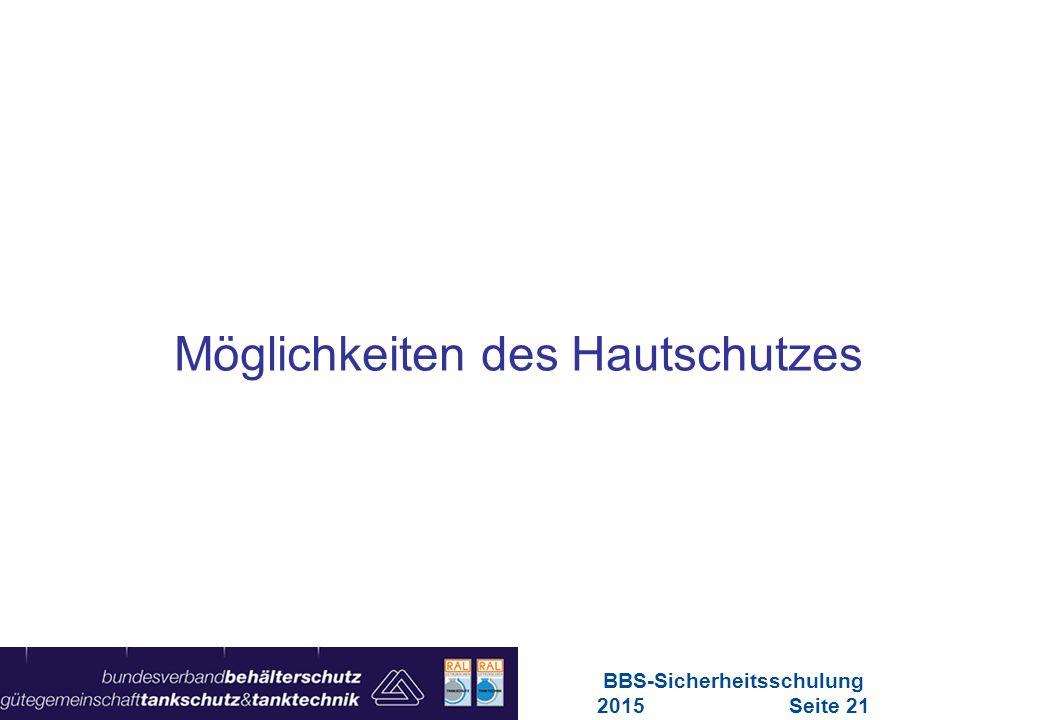 Maschinen in Europa Vorschriften-Übersicht für Maschinen Möglichkeiten des Hautschutzes BBS-Sicherheitsschulung 2015Seite 21