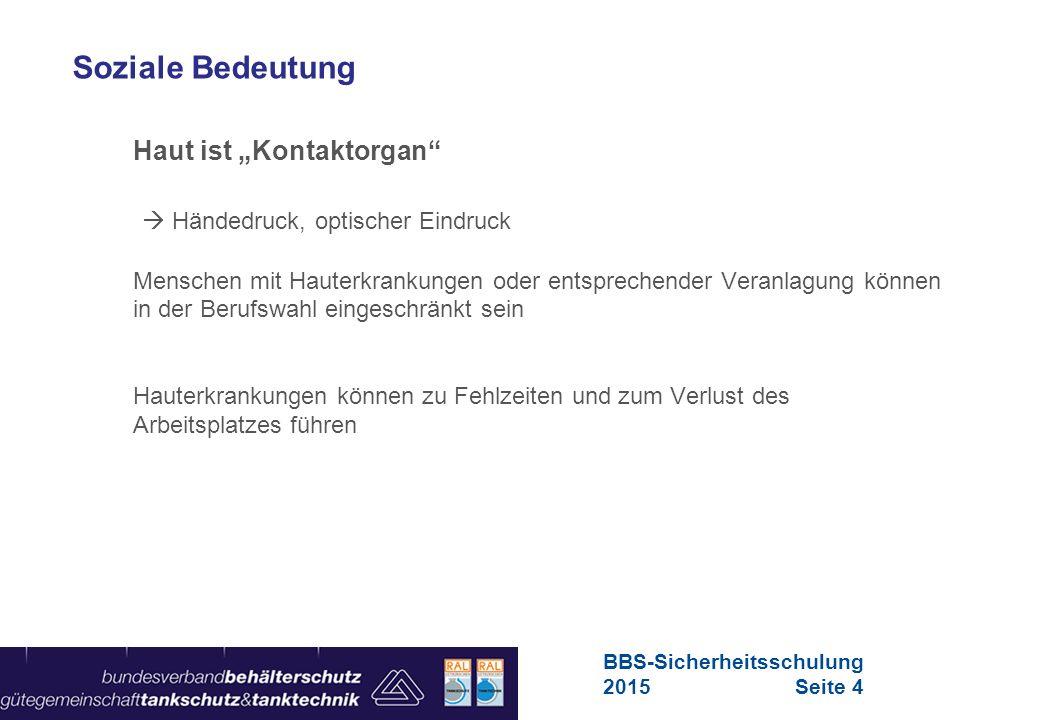 Maschinen in Europa Vorschriften-Übersicht für Maschinen Aufbau der Haut Aufbau und Funktion des Hautorgans BBS-Sicherheitsschulung 2015Seite 5