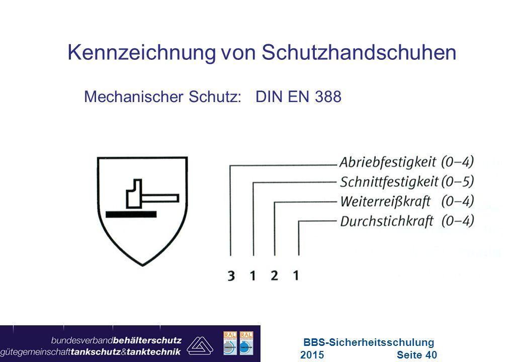Maschinen in Europa Vorschriften-Übersicht für Maschinen Mechanischer Schutz: DIN EN 388 Kennzeichnung von Schutzhandschuhen BBS-Sicherheitsschulung 2