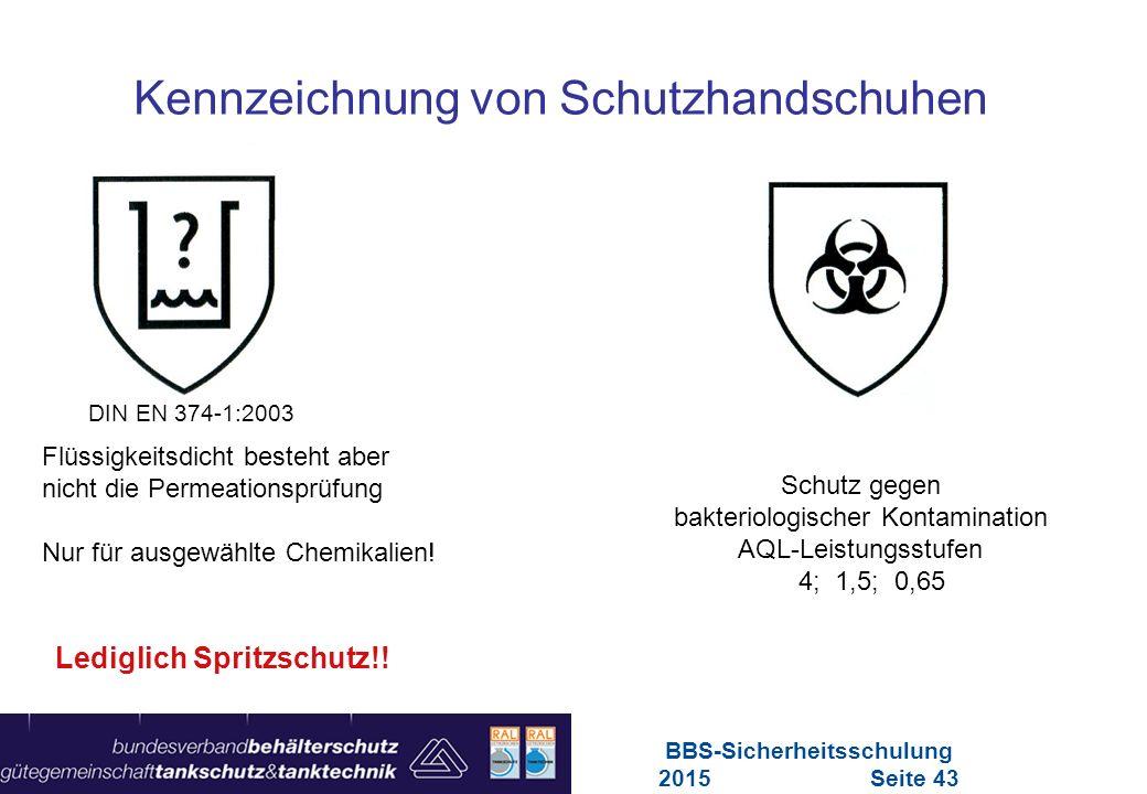 Maschinen in Europa Vorschriften-Übersicht für Maschinen Kennzeichnung von Schutzhandschuhen Lediglich Spritzschutz!! DIN EN 374-1:2003 Flüssigkeitsdi