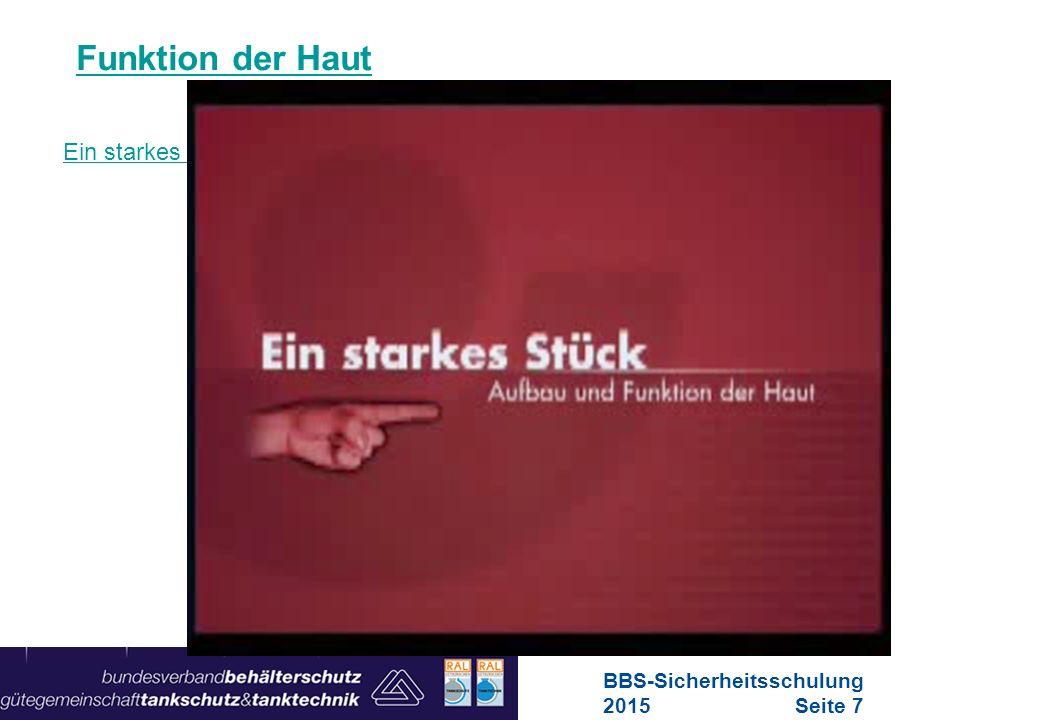 Maschinen in Europa Vorschriften-Übersicht für Maschinen Schädigungen der Haut Verätzungen durch flusssäurehaltige Reinigungsmittel BBS-Sicherheitsschulung 2015Seite 18
