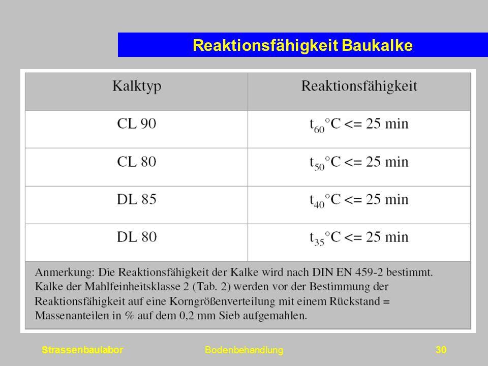 StrassenbaulaborBodenbehandlung30 Reaktionsfähigkeit Baukalke