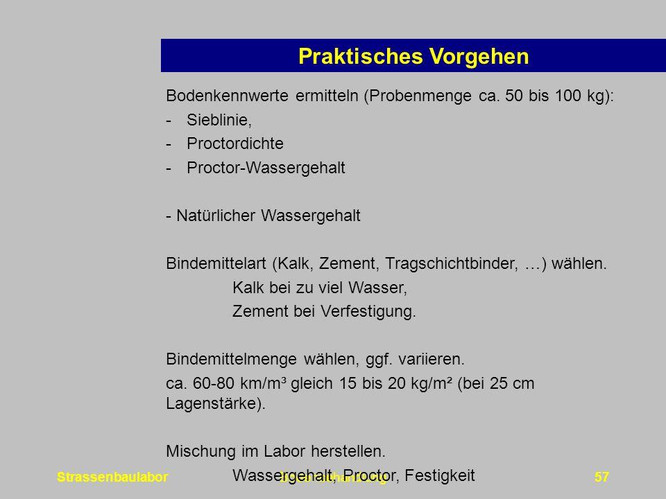 StrassenbaulaborBodenbehandlung57 Praktisches Vorgehen Bodenkennwerte ermitteln (Probenmenge ca.