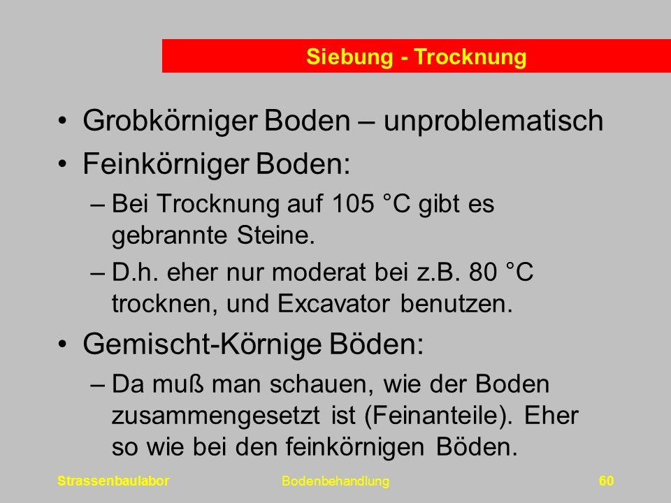 Grobkörniger Boden – unproblematisch Feinkörniger Boden: –Bei Trocknung auf 105 °C gibt es gebrannte Steine.