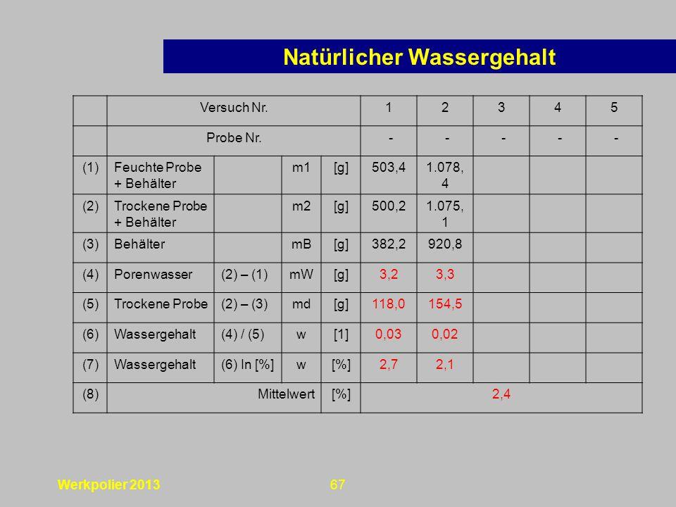 Werkpolier 201367 Versuch Nr.12345 Probe Nr.