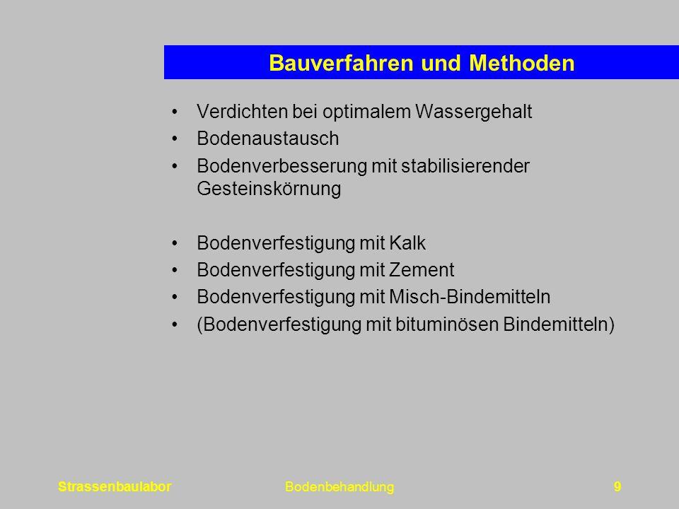 StrassenbaulaborBodenbehandlung9 Bauverfahren und Methoden Verdichten bei optimalem Wassergehalt Bodenaustausch Bodenverbesserung mit stabilisierender Gesteinskörnung Bodenverfestigung mit Kalk Bodenverfestigung mit Zement Bodenverfestigung mit Misch-Bindemitteln (Bodenverfestigung mit bituminösen Bindemitteln)