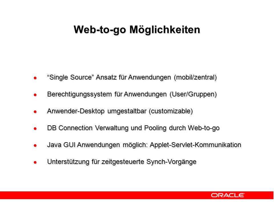 Web-to-go Möglichkeiten Single Source Ansatz für Anwendungen (mobil/zentral) Single Source Ansatz für Anwendungen (mobil/zentral) Berechtigungssystem für Anwendungen (User/Gruppen) Berechtigungssystem für Anwendungen (User/Gruppen) Anwender-Desktop umgestaltbar (customizable) Anwender-Desktop umgestaltbar (customizable) DB Connection Verwaltung und Pooling durch Web-to-go DB Connection Verwaltung und Pooling durch Web-to-go Java GUI Anwendungen möglich: Applet-Servlet-Kommunikation Java GUI Anwendungen möglich: Applet-Servlet-Kommunikation Unterstützung für zeitgesteuerte Synch-Vorgänge Unterstützung für zeitgesteuerte Synch-Vorgänge