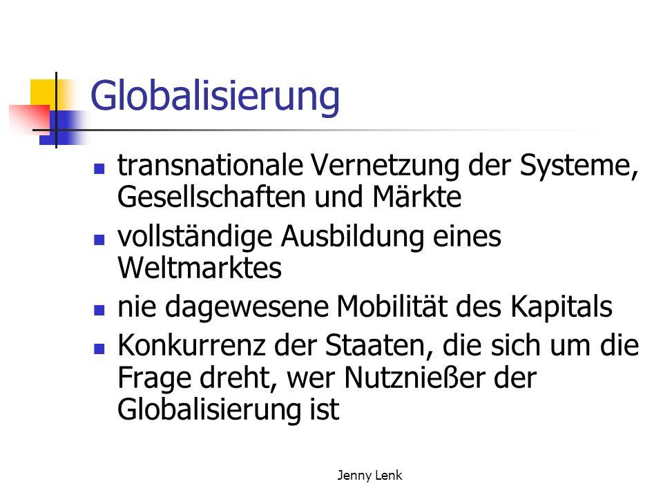 Jenny Lenk Globalisierung transnationale Vernetzung der Systeme, Gesellschaften und Märkte vollständige Ausbildung eines Weltmarktes nie dagewesene Mobilität des Kapitals Konkurrenz der Staaten, die sich um die Frage dreht, wer Nutznießer der Globalisierung ist