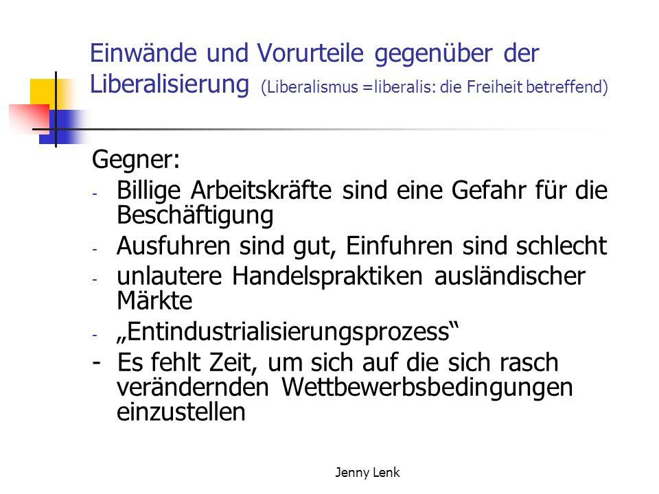 Jenny Lenk Einwände und Vorurteile gegenüber der Liberalisierung (Liberalismus =liberalis: die Freiheit betreffend) Gegner: - Billige Arbeitskräfte si