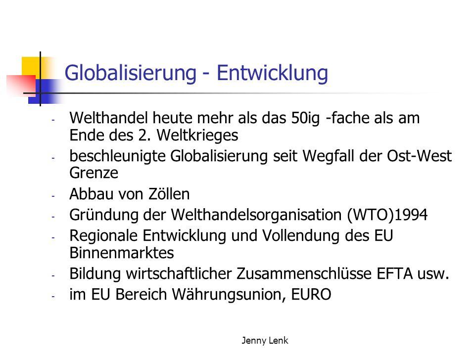 Jenny Lenk Globalisierung - Entwicklung - Welthandel heute mehr als das 50ig -fache als am Ende des 2. Weltkrieges - beschleunigte Globalisierung seit