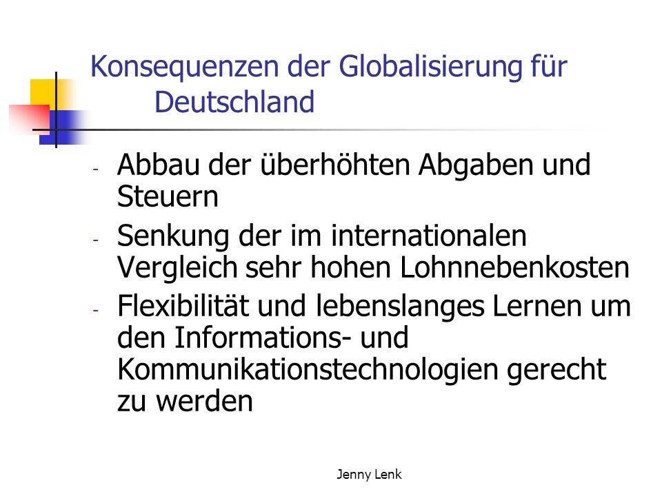 Jenny Lenk Konsequenzen der Globalisierung für Deutschland - Abbau der überhöhten Abgaben und Steuern - Senkung der im internationalen Vergleich sehr hohen Lohnnebenkosten - Flexibilität und lebenslanges Lernen um den Informations- und Kommunikationstechnologien gerecht zu werden
