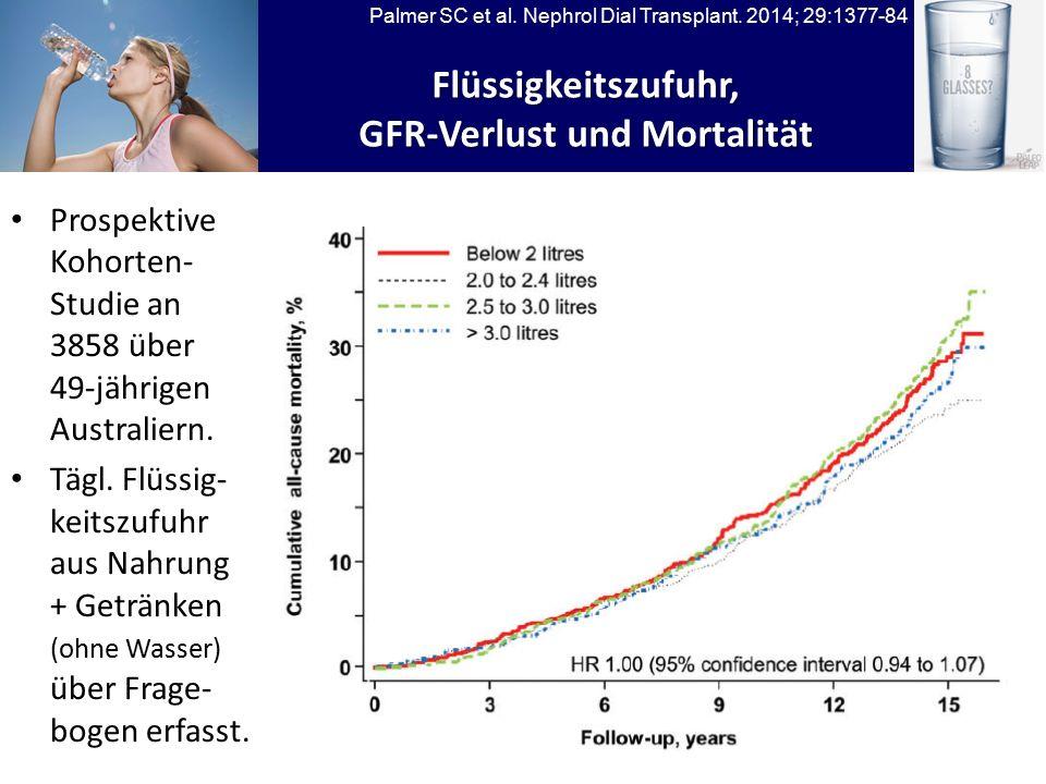 Flüssigkeitszufuhr, GFR-Verlust und Mortalität Palmer SC et al.