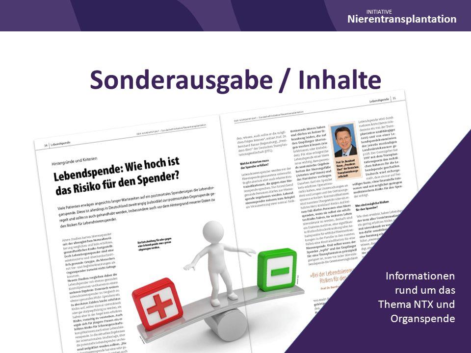 Nierentransplantation INITIATIVE Sonderausgabe / Inhalte Informationen rund um das Thema NTX und Organspende