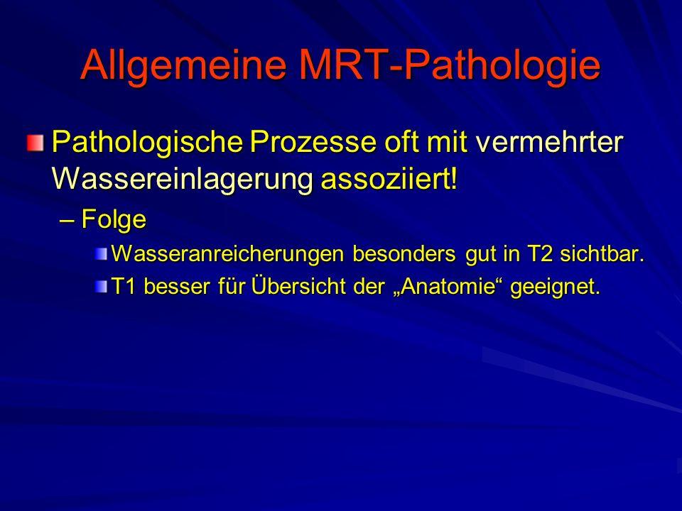 Allgemeine MRT-Pathologie Pathologische Prozesse oft mit vermehrter Wassereinlagerung assoziiert! –Folge Wasseranreicherungen besonders gut in T2 sich