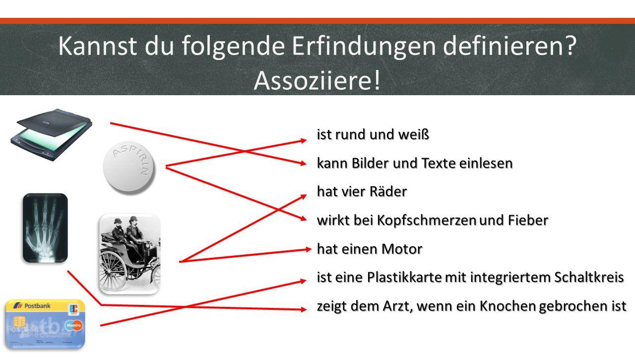 Wer hat was erfunden? Assoziiere! Jürgen Dethloff (Ingenieur) und Helmut Gröttrup (Ingenieur) Felix Hoffmann (Apotheker) Rudolf Hell (Ingenieur) Gottl