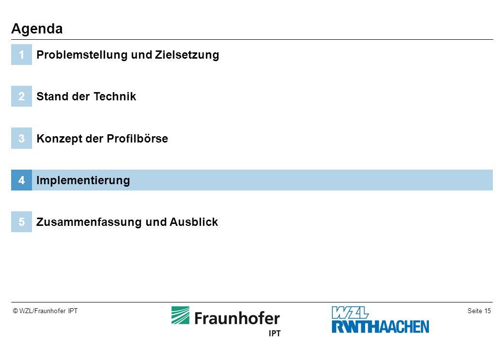 Seite 15© WZL/Fraunhofer IPT Zusammenfassung und Ausblick5 Implementierung4 Konzept der Profilbörse3 Stand der Technik2 Problemstellung und Zielsetzun