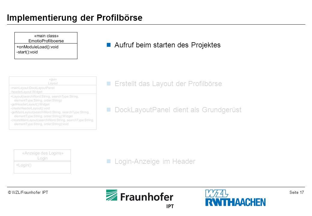 Seite 17© WZL/Fraunhofer IPT Implementierung der Profilbörse Aufruf beim starten des Projektes Erstellt das Layout der Profilbörse DockLayoutPanel die