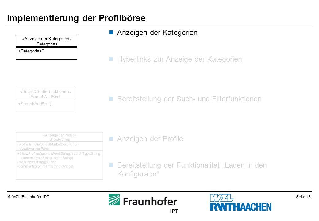 Seite 18© WZL/Fraunhofer IPT Implementierung der Profilbörse Anzeigen der Kategorien Hyperlinks zur Anzeige der Kategorien Bereitstellung der Such- un
