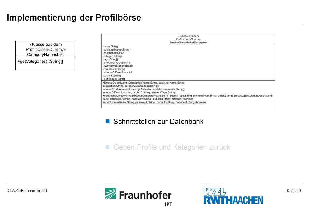 Seite 19© WZL/Fraunhofer IPT Implementierung der Profilbörse Schnittstellen zur Datenbank Geben Profile und Kategorien zurück