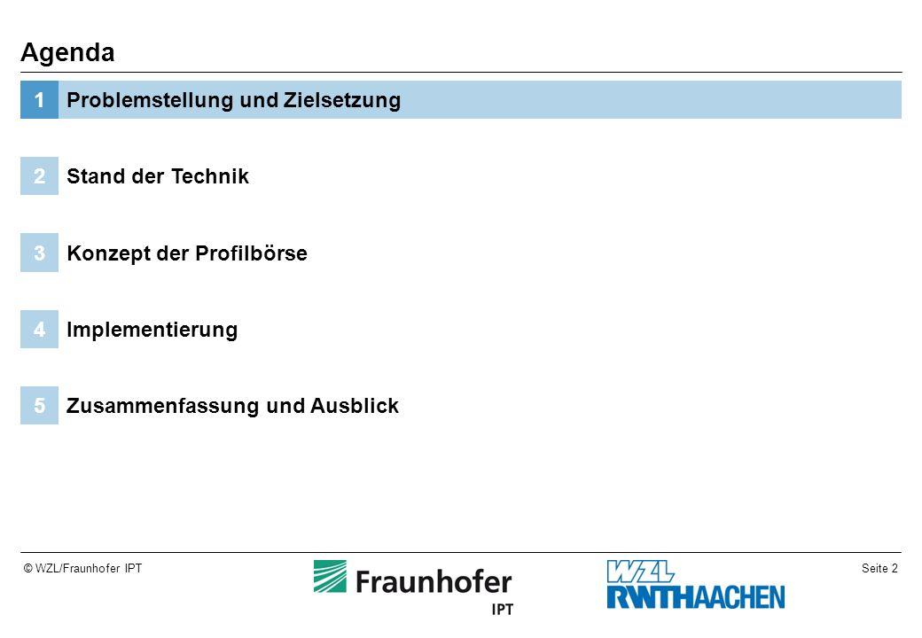 Seite 2© WZL/Fraunhofer IPT Zusammenfassung und Ausblick5 Implementierung4 Konzept der Profilbörse3 Stand der Technik2 Problemstellung und Zielsetzung1 Agenda