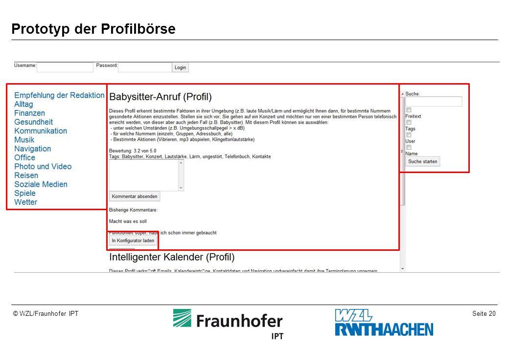 Seite 20© WZL/Fraunhofer IPT Prototyp der Profilbörse
