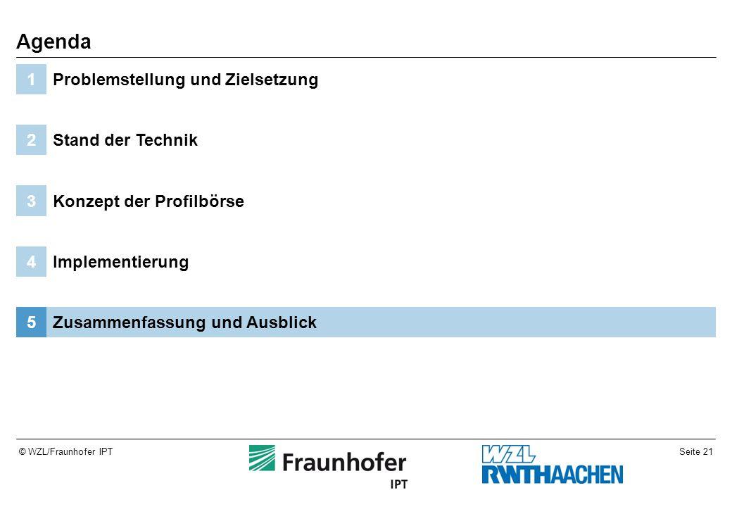 Seite 21© WZL/Fraunhofer IPT Zusammenfassung und Ausblick5 Implementierung4 Konzept der Profilbörse3 Stand der Technik2 Problemstellung und Zielsetzung1 Agenda