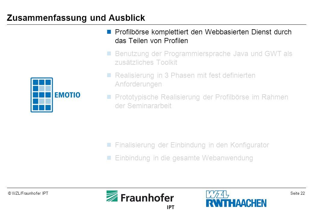 Seite 22© WZL/Fraunhofer IPT Zusammenfassung und Ausblick Profilbörse komplettiert den Webbasierten Dienst durch das Teilen von Profilen Benutzung der